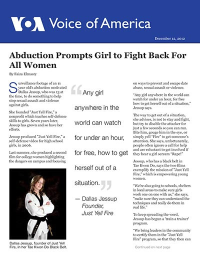 Abduction Motivates Girl to Launch Self-Defense Initiative